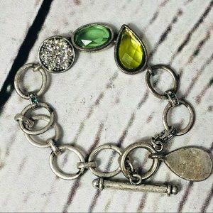 Lia Sophia Toggle Charm Silver tone bracelet